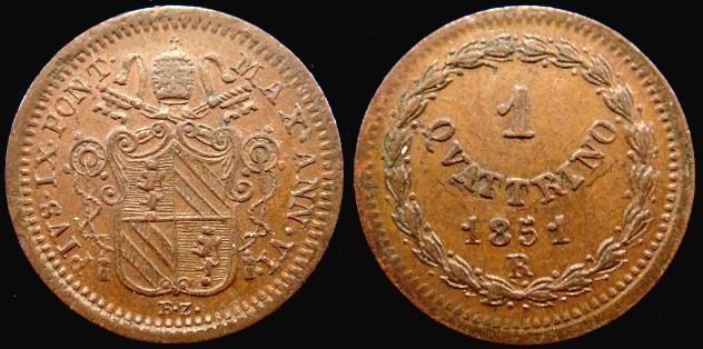 Pius IX 1851 Anno VI Copper Quattrino XF+ Photo