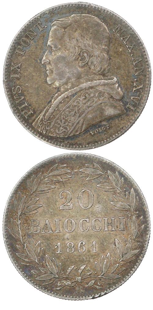 Pius IX 1861 Anno XVI 20 Baiocchi Photo
