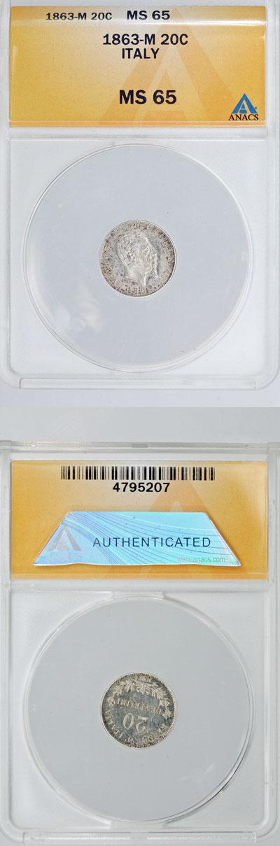 1863 Italy 20 Centesimi Silver MS65 Photo