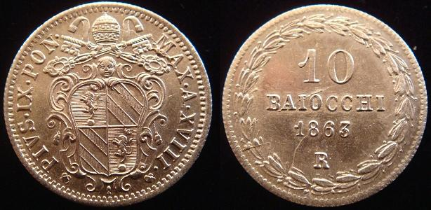 Pius IX 1863 Anno XVIII 10 Baiocchi Silver Coin Photo