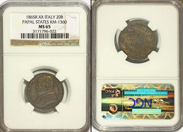 Pius IX 1865 Anno XX 20 Baiocchi Silver NGC MS65 Photo