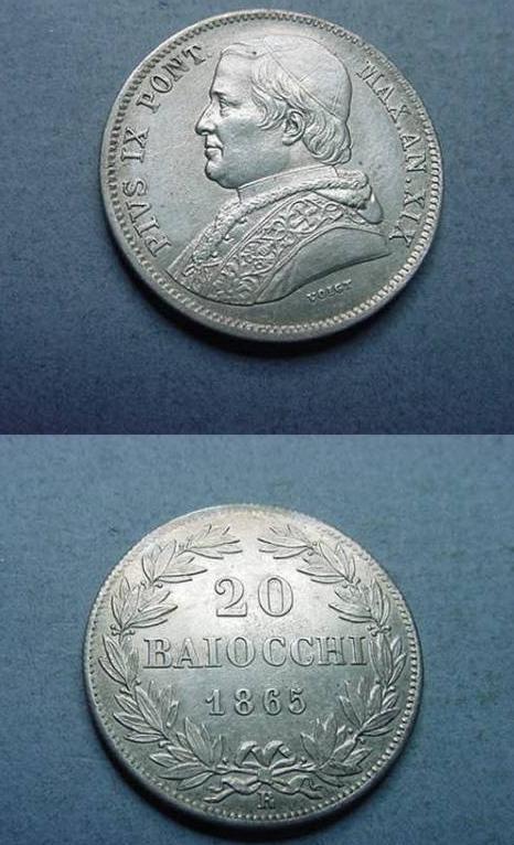 Pius IX 1865 Anno XIX 20 Baiocchi XF+ Photo
