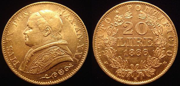 Pius IX 1866 Anno XXI 20 Lire Gold Coin AU Photo