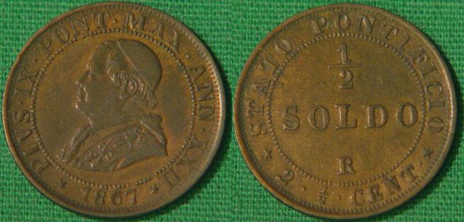 Pius IX 1867 Half Soldo XF Photo
