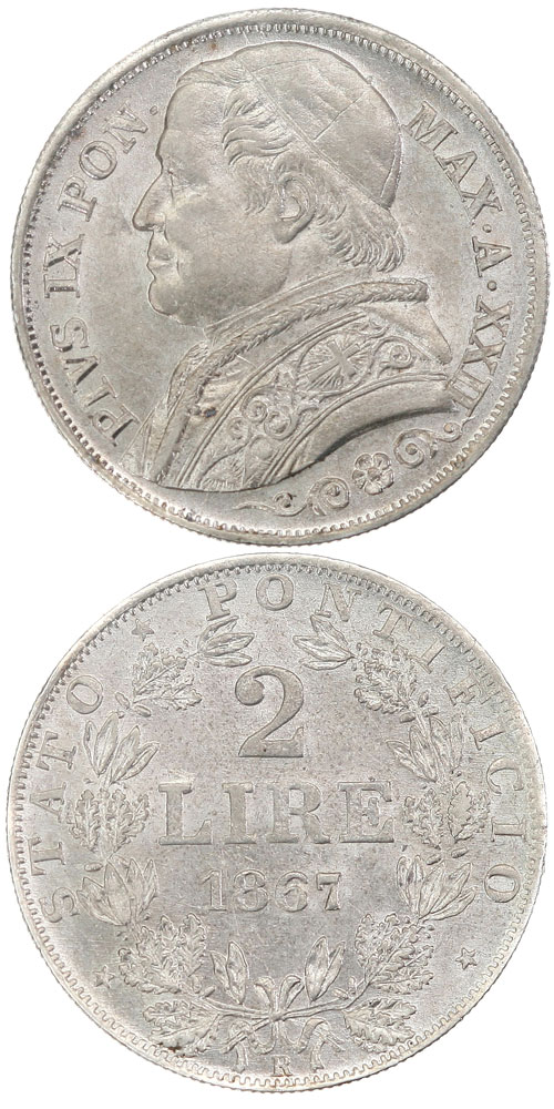 Pius IX 1867 A.XXII 2 Lire Papal States Coin Photo