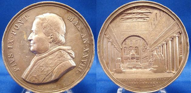 Pius IX 1873 Basilica St. Lawrence Silver Medal Photo