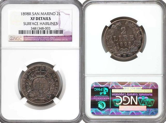 1898 San Marino 2 Lire Coin Photo