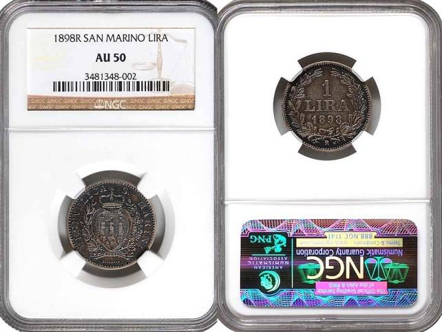 1898 San Marino 1 Lira Coin NGC AU50 Photo