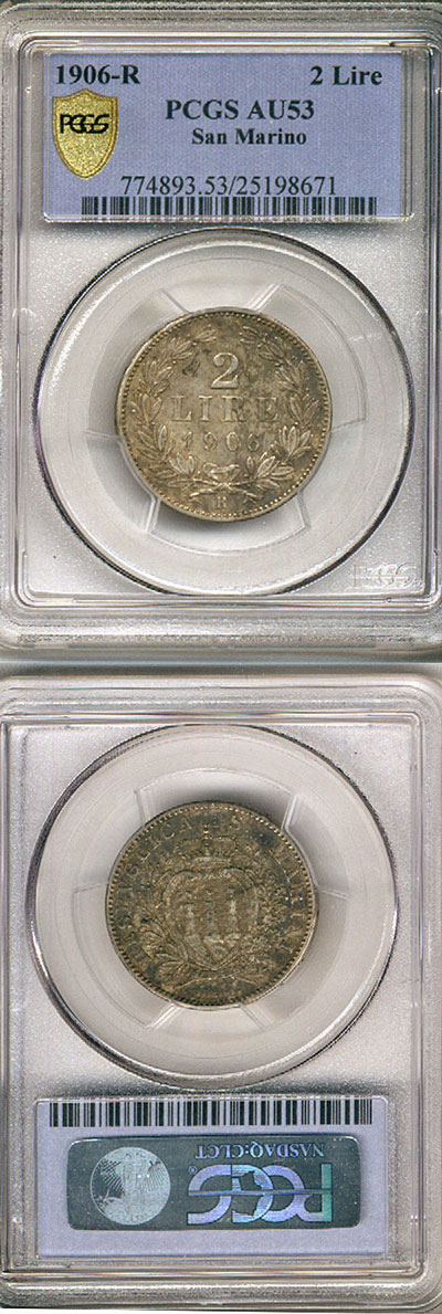1906 San Marino 2 Lire PCGS AU53 Photo