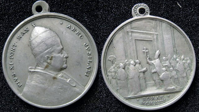 Pius XI 1925 Holy Year Medal 31mm Photo