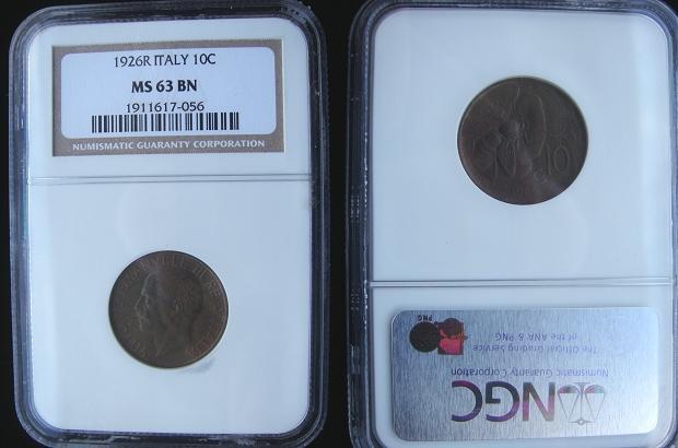 1926 Italy 10 Centesimi Coin MS63 Photo
