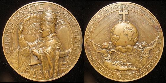 Pius XI 1927 Urban College 60mm Bronze Medal Photo