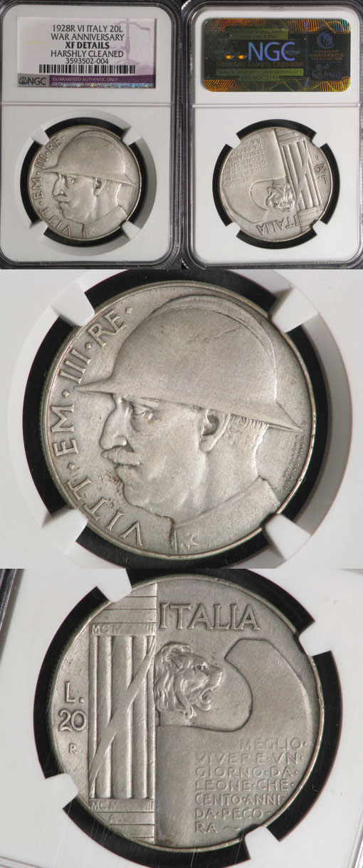 1928 Italy 20 Lire Silver Coin Photo