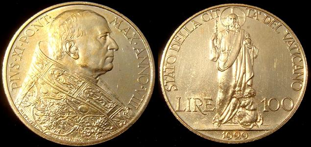 1929 Vatican 100 Lire Gold Coin Photo