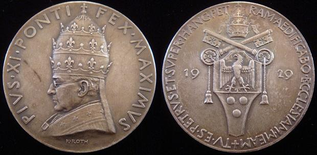 Pius XI 1929 Founding of Vatican City Medal Photo