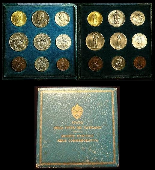 1929 Vatican 9 Coin Mint Set Cased, Gold BU Photo