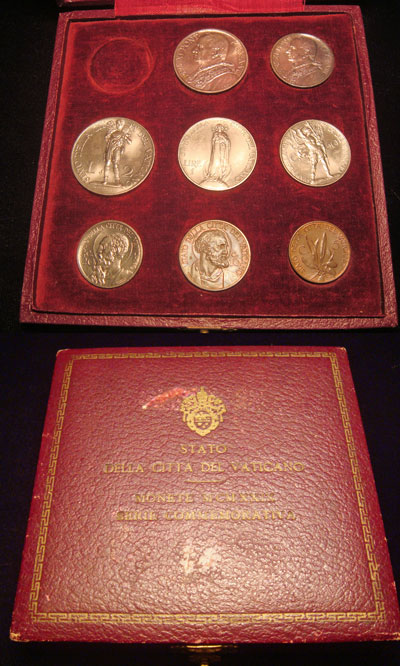 1929 Vatican 8 Coin Mint Set w/Case UNC Photo