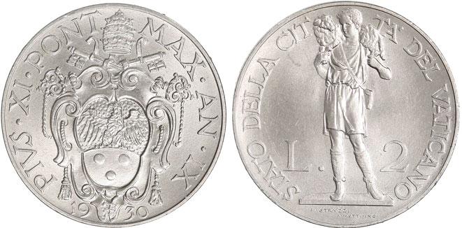 1930 Vatican 2 Lire GOOD SHEPHERD Coin Photo