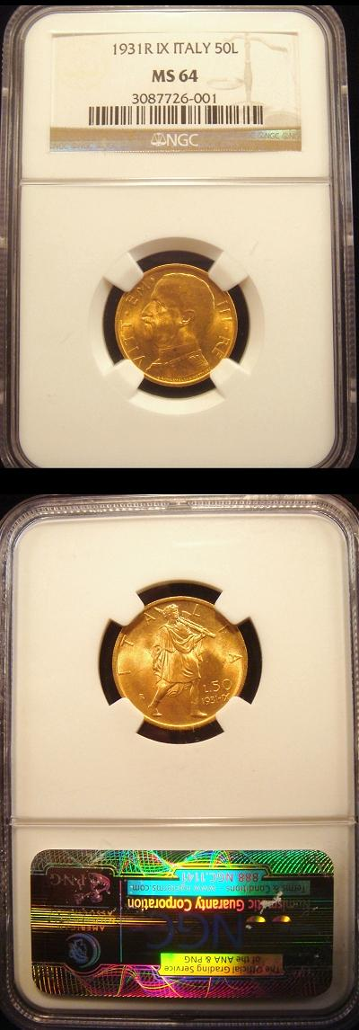 1931 Italy 50 Lire Gold Coin NGC MS64 Photo