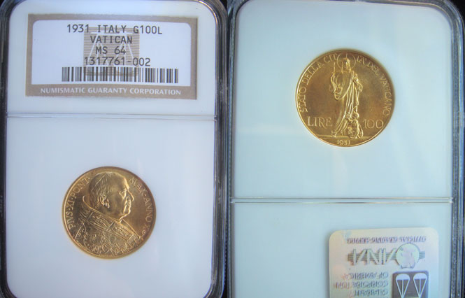 1931 Vatican 100 Lire Gold Coin NGC MS64 Photo
