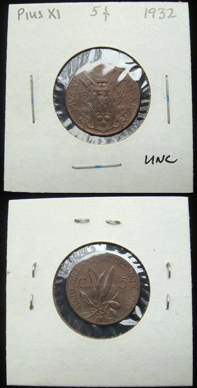 1932 Vatican 5 Centesimi Coin Photo