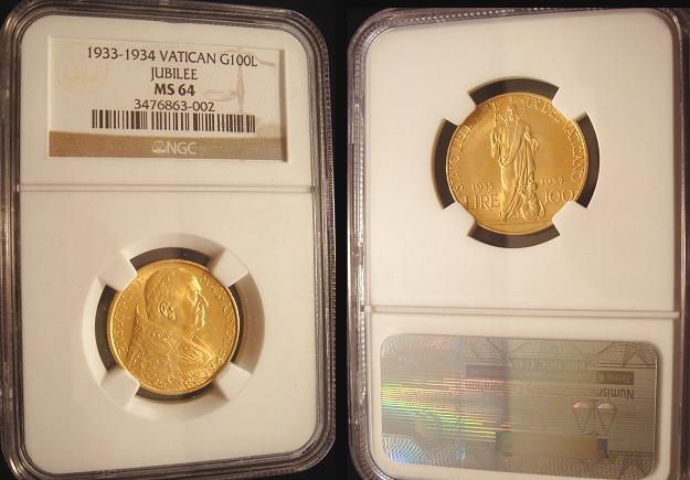 1933-34 Vatican 100 Lire Gold Coin NGC MS64 Photo