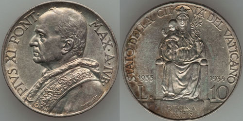 1933-34 Vatican Holy Year 10 Lire Coin UNC Photo