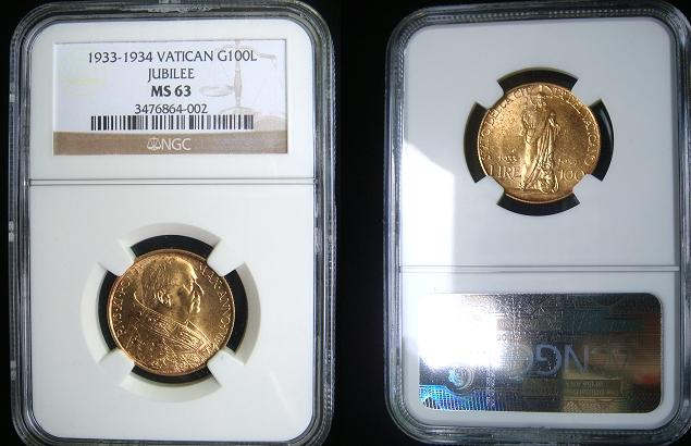 1933-34 Vatican 100 Lire Gold Coin NGC MS63 Photo