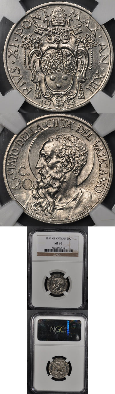 1934 Vatican 20 Centesimi Coin MS66 Photo