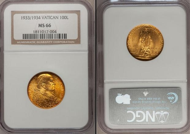 1933-34 Vatican 100 Lire Gold Coin NGC MS66 Photo