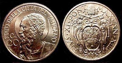 1934 Vatican 20 Centesimi Coin Photo