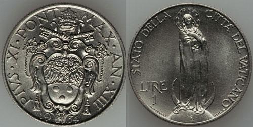 1934 Vatican 1 Lira VIRGIN MARY Coin Photo