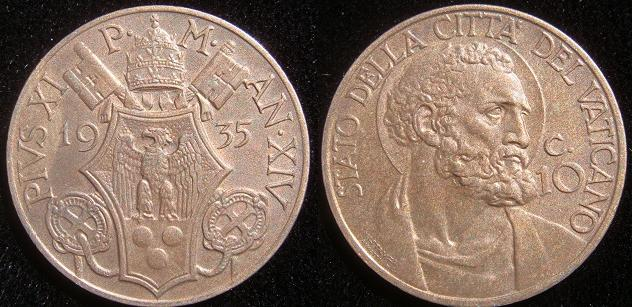 1935 Vatican 10 Centesimi St. Peter Coin Photo