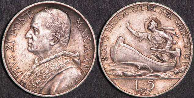 1935 Vatican 5 Lre Coin AU-UNC Photo