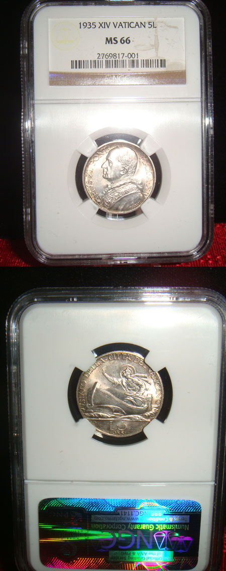1935 Vatican 5 Lre Coin NGC MS66 Photo