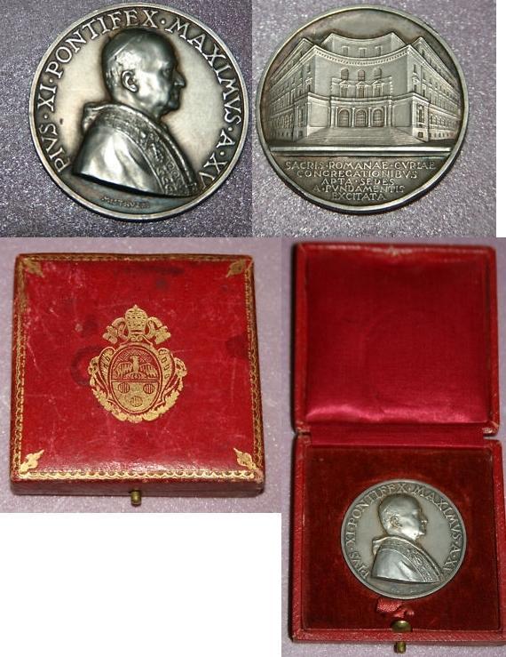 Pius XI (1922-39) Anno XV Ag Roman Curia Medal Photo