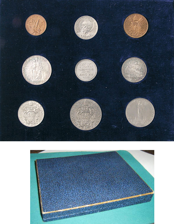1936 Vatican Coin Set, 8 Coins + Token BU Photo