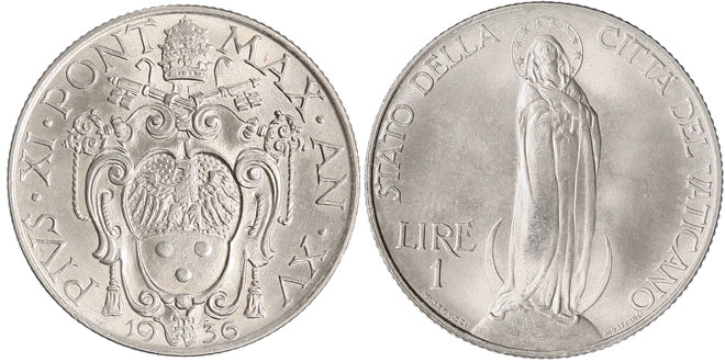1936 Vatican 1 Lira VIRGIN MARY Coin Photo
