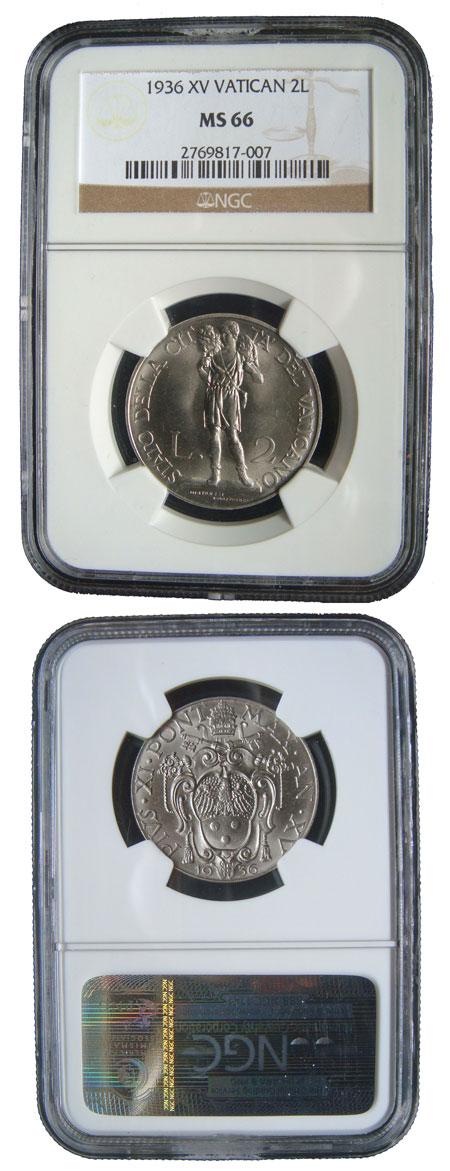 1936 Vatican 2 Lire GOOD SHEPHERD Coin MS66 Photo