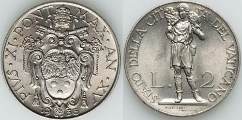 1936 Vatican 2 Lire GOOD SHEPHERD Coin UNC Photo