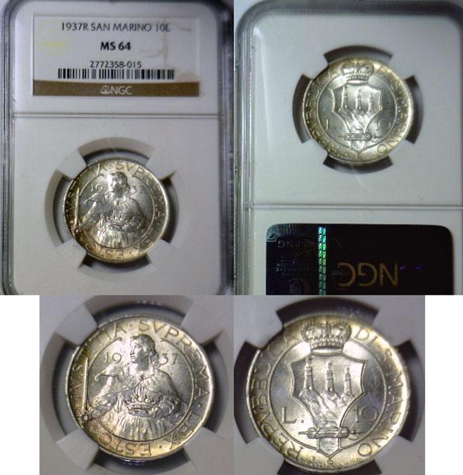 1937 San Marino 10 Lire Saint Agatha Coin Photo