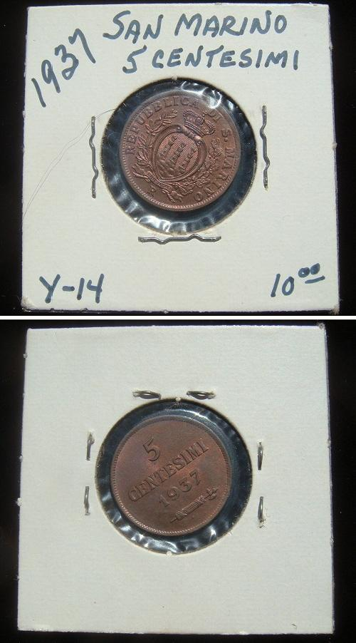 1937 San Marino 5 Centesimi Coin Photo