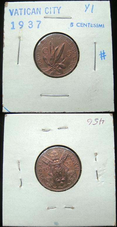 1937 Vatican 5 Centesimi Coin Photo