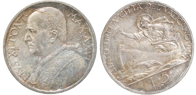 1937 Vatican 5 Lre Coin UNC Photo