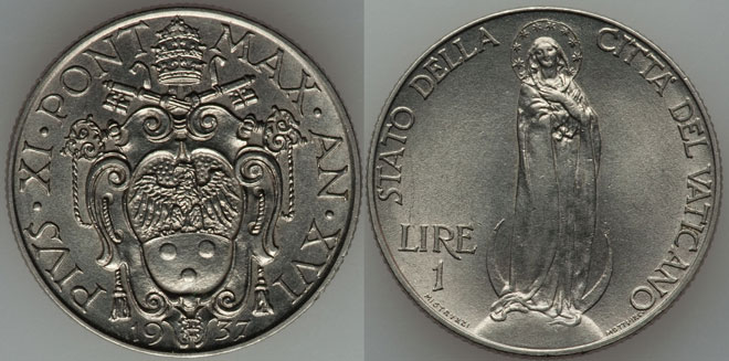 1937 Vatican 1 Lira VIRGIN MARY Coin Photo