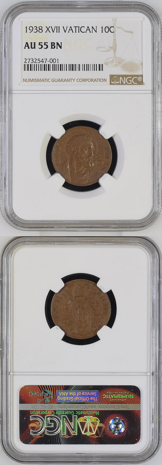 1938 Vatican 10 Centesimi NGC AU55 Photo