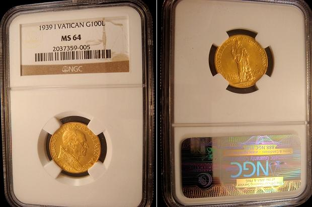 1939 Vatican 100 Lire Gold Coin NGC MS64 Photo