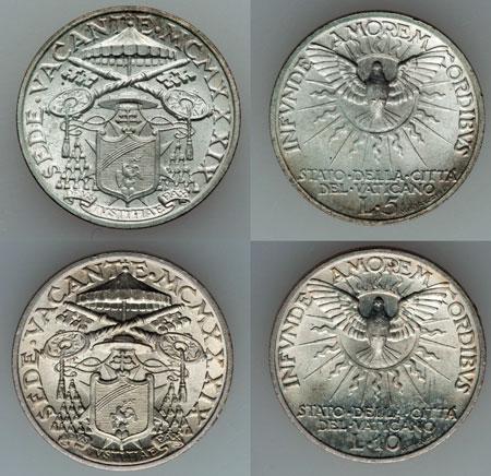 1939 Sede Vacante Vatican 10 + 5 Lire B/U Photo