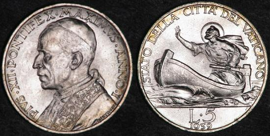 1939 Vatican 5 Lire Silver Coin ST. PETER Photo