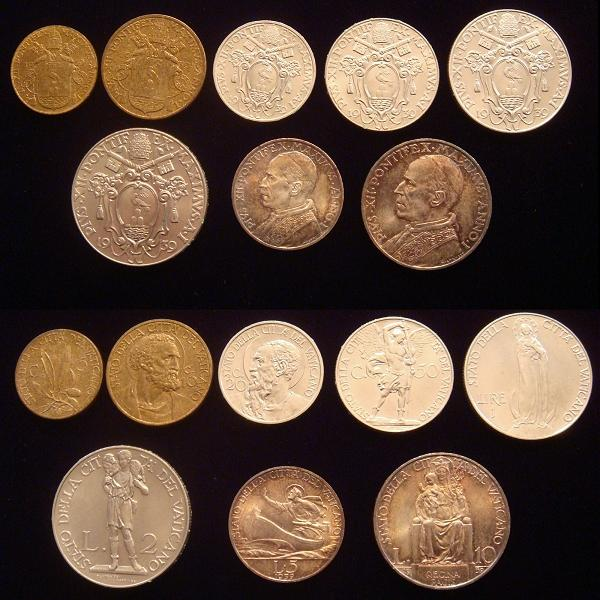 1939 Vatican Mint Set 8 Coins, Ch.Unc Photo